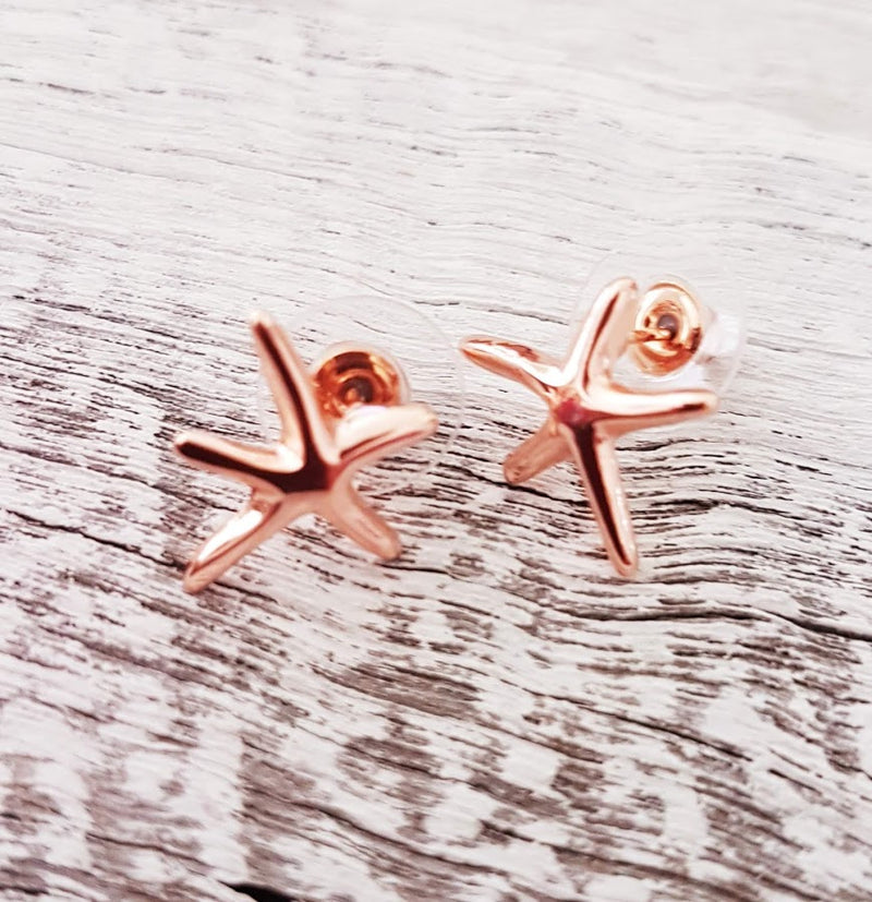 Rose Gold Starfish Stud Earrings