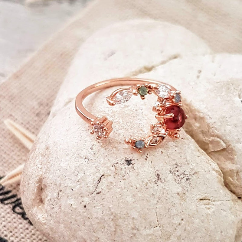 Ruby Red Rose Wire Gold Ring🌹
