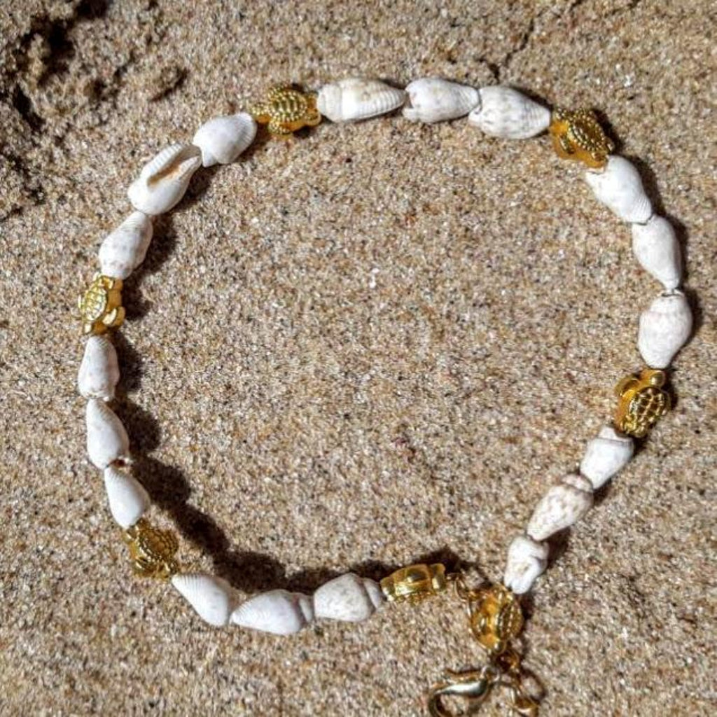 Sea Turtle Vermeil Gold & Shell Anklets