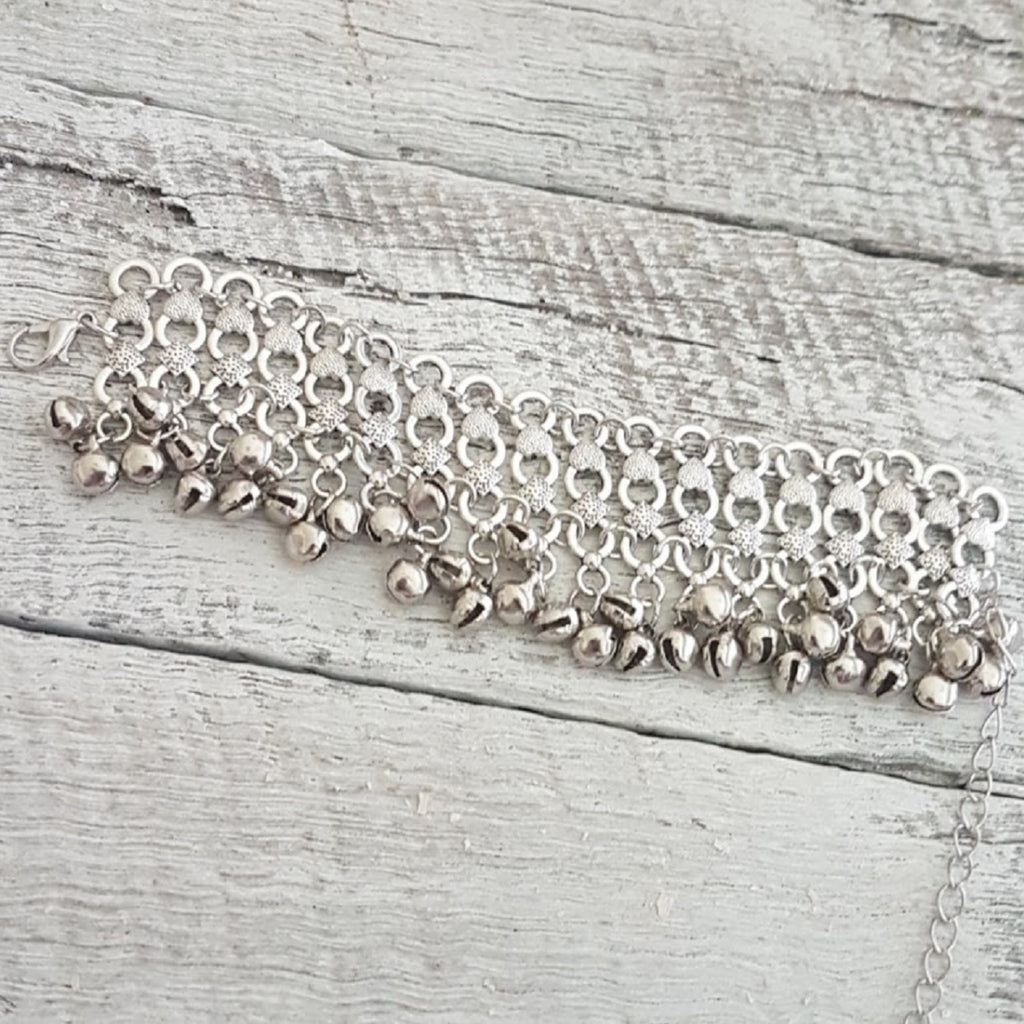 silver tribal ball bracelet