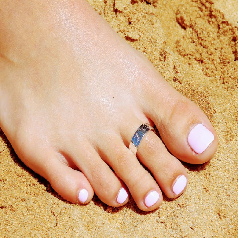 Footprints in the Sand - 925 Silver Toe Ring