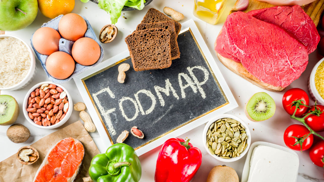 high fiber low fodmap foods on a table top view