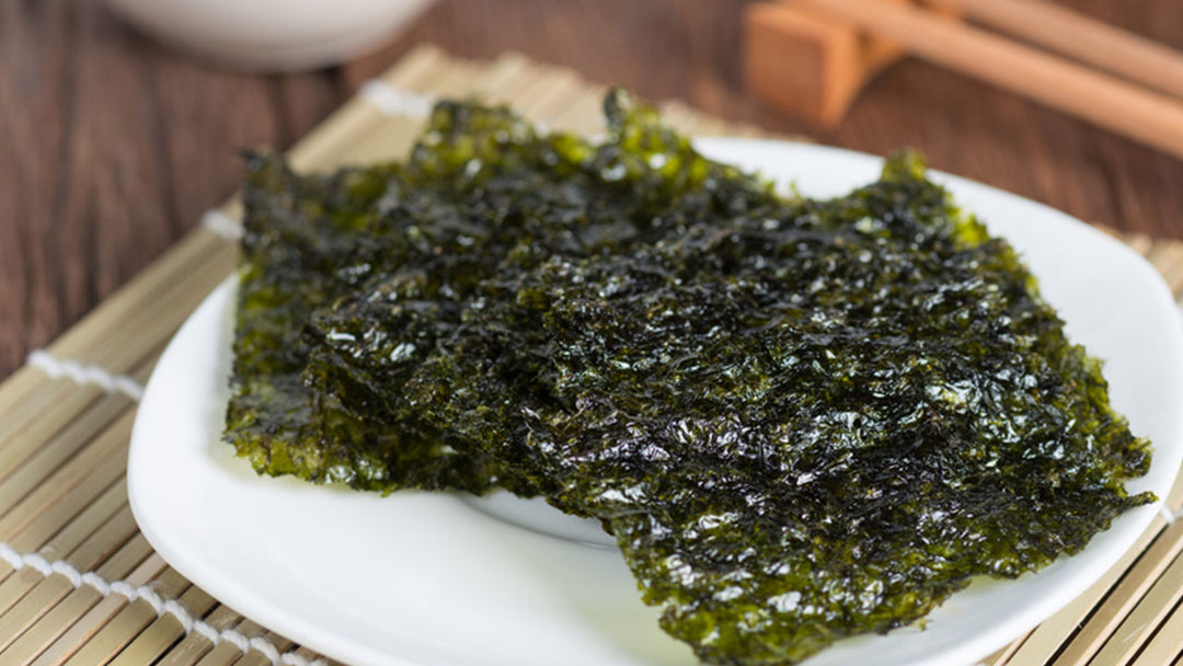 nori sheets on a white plate