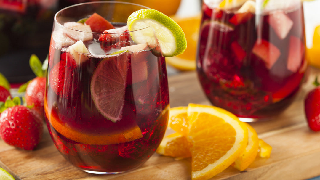 strawberry sangria in a glass