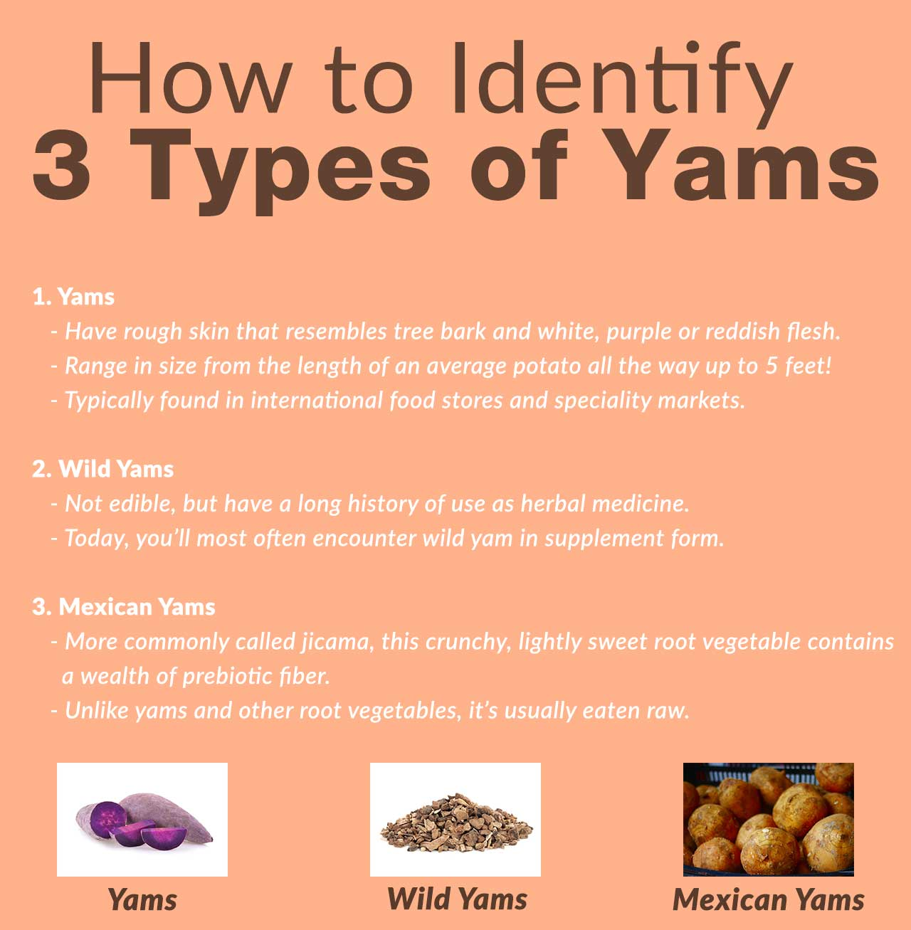 How to identify 3 types of yams