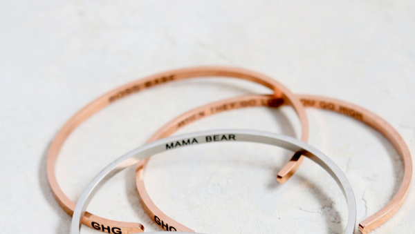 Rose gold mama bear bangle for Mother's Day gift guide