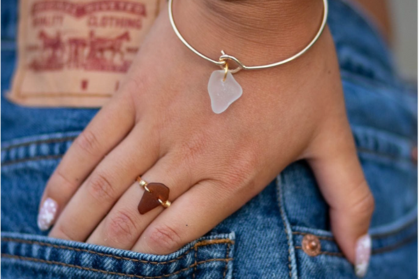 beach glass ring and bangle by Huron Glass for Mother's Day gift guide