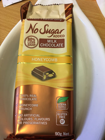 Milk Chocolate Honeycomb Block, no added sugar - Well Naturally brand