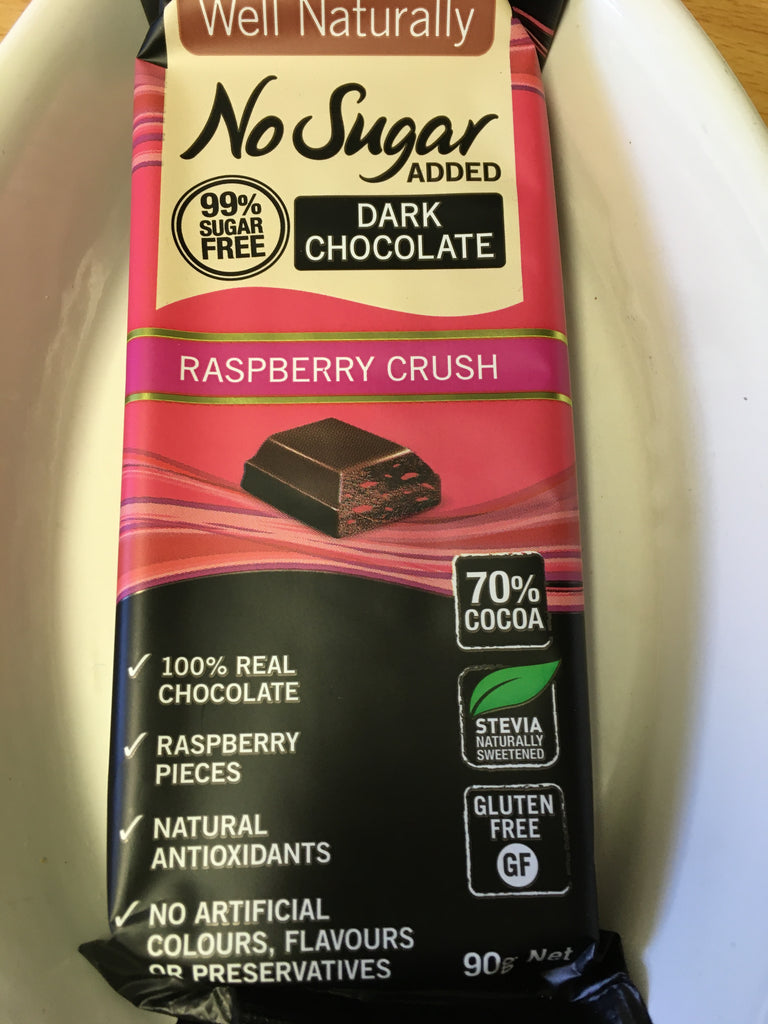 Dark Chocolate Raspberry Crush Block, no added sugar - Well Naturally brand