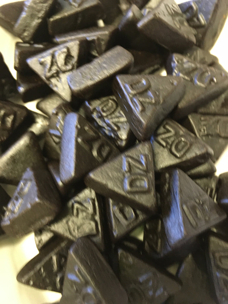 Dutch Double salted licorice triangles - DZ printed on them