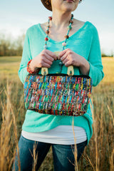 Large Paper Bead Bag with Wooden Handle