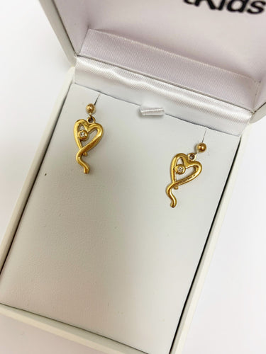 9ct Gold Heart Kids Diamond Earrings