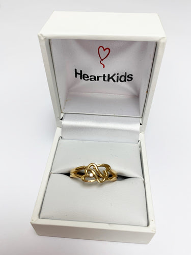 9ct Gold Heart Kids Logo Ring with diamond