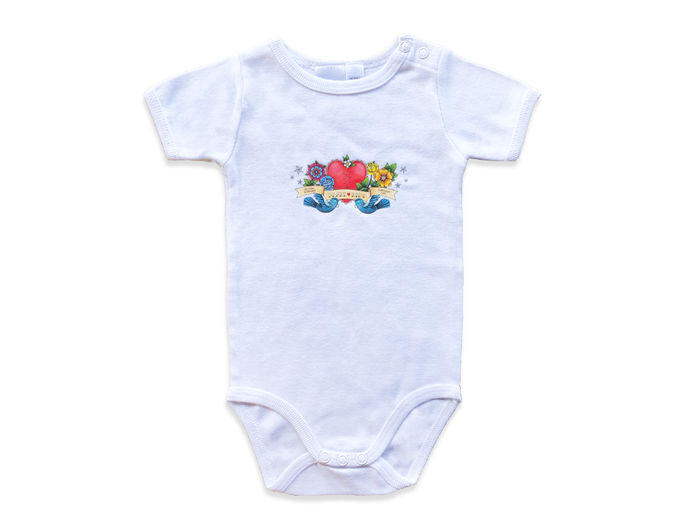 Heart Kids White Baby Onesie