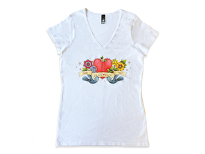 Heart Kids White Womens V neck T-shirt