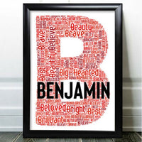 Birthday Card Personalised For Him Word Art Initial Any Letter Add Name & Words