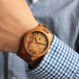 Treehut Mens Wooden Olive Ashe Bamboo Watch with Genuine Brown Leather Strap