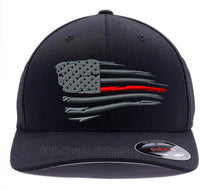 Flexfit Thin Red Line Waving USA Flag. Embroidered. 6477 Wool Blend Cap