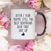 YouNique Designs 1 Year Anniversary Coffee Mug for Boyfriend, 11 ounces, White, 1st Anniversary Gift for Him