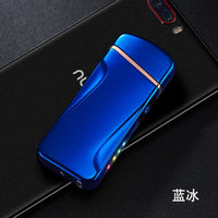 USB charging marquee power display cigarette lighter novelty metal double arc windproof electronic lighter mens gift smoker