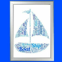 BOAT WORD ART PERSONALISED GIFT FOR HIM ON FATHER'S DAY DAD DADDY SAILING SEA k