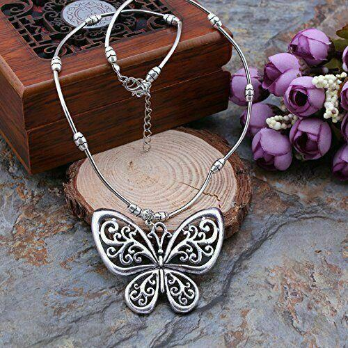 Butterfly Pendant Necklace Vintage Jewellery Gift for Him Her Present A360