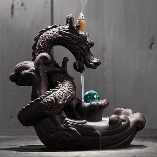 Backflow Dragon Incense Burner With Crystal Ball
