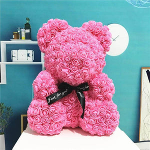 Handcrafted Pink Rose Bear