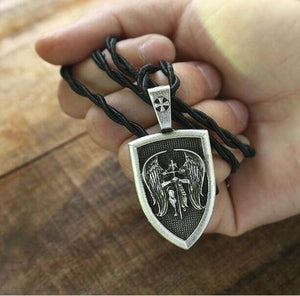Front View Of St.Michael Pendant Necklace With Rope