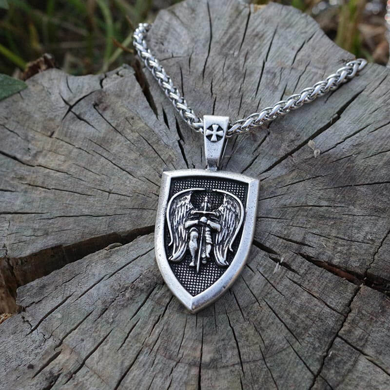 Front View Of St.Michael Archangel Necklace With Steel Chain
