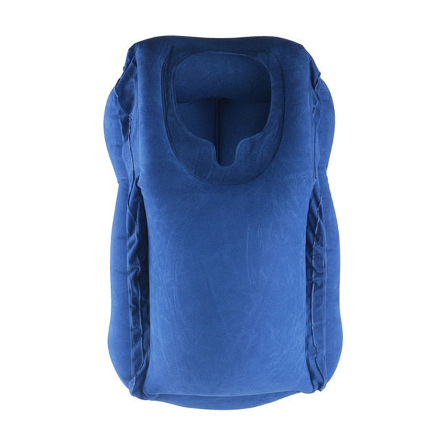 Blue Color Inflatable Neck Pillow For Travel