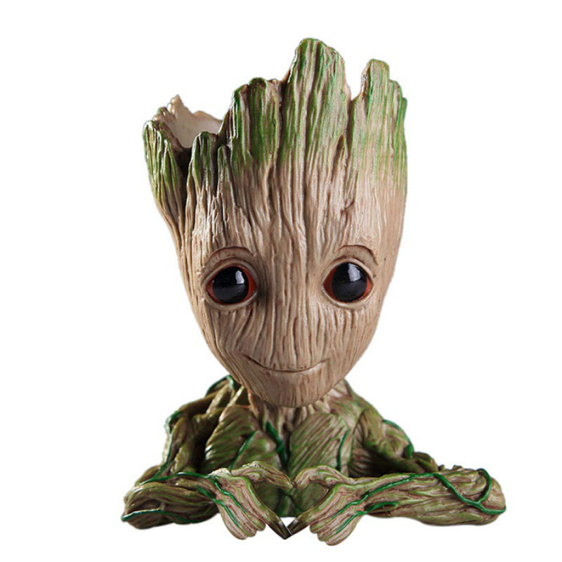 Baby groot planter making heart with hands