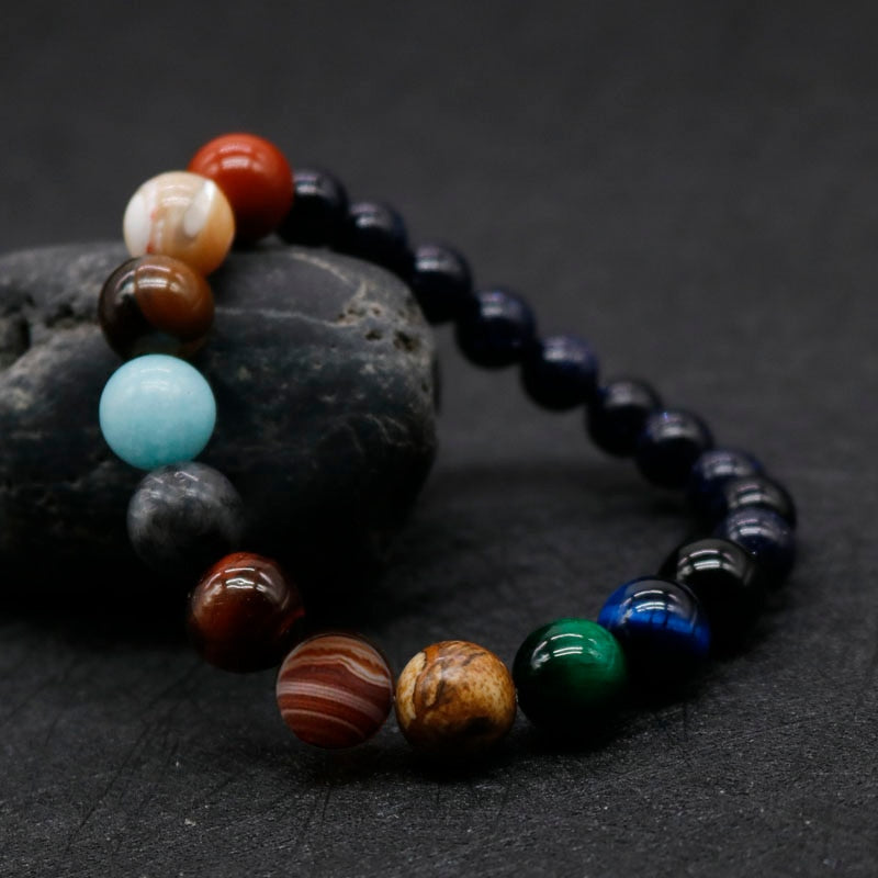 Solar system bracelet made with gems & beads