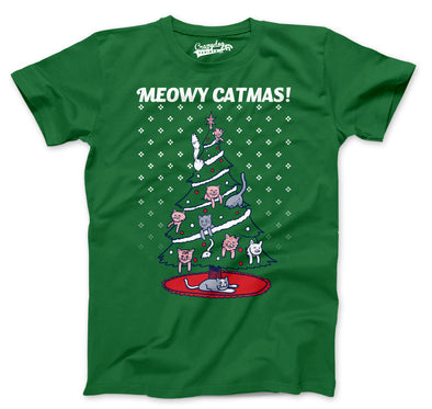 Mens Meowy Christmas Cat Tree Ugly Christmas Sweater T shirt GREEN