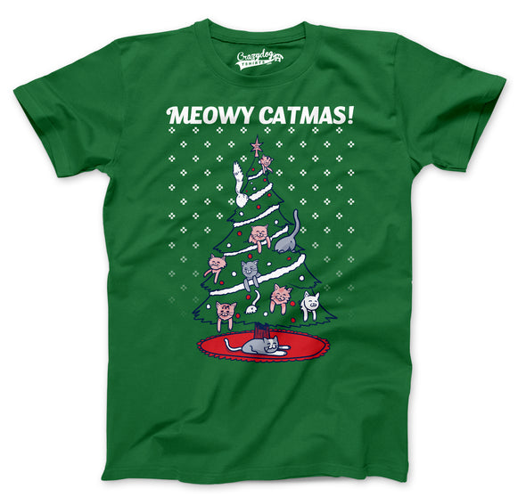 Meowy Christmas Cat Tree Ugly Christmas Sweater Men's Tshirt