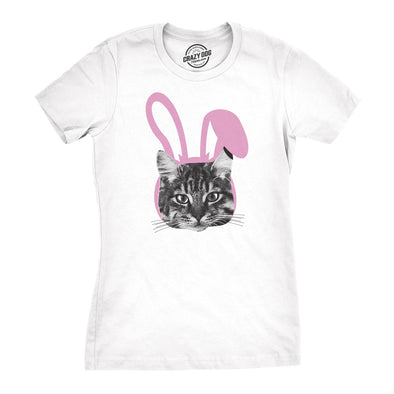 Womens Easter Cat T Shirt Funny Kitten In Bunny Ears Cute Lover Spring Tee