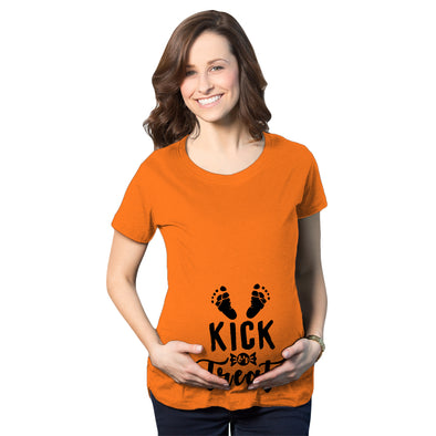 Maternity Kick Or Treat Tshirt Funny Halloween Pregnancy Announcement Tee