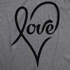Womens Love Cursive Heart Design Cute Graphic Novelty Valentines Day T shirt