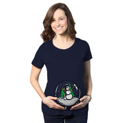 Maternity Snow Globe  T Shirt Funny Cute Christmas Reveal Pregnancy Announcement