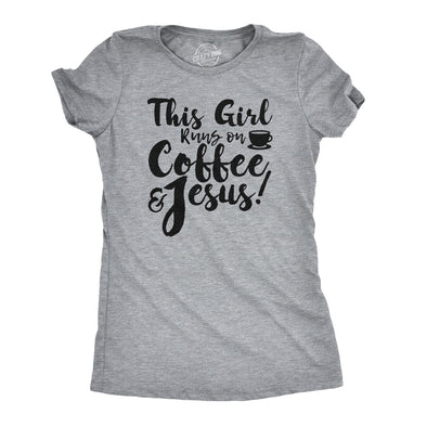 Womens This Girl Runs Off Coffee And Jesus T Shirt Funny Faith Church Cool Gift