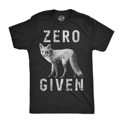 Mens Zero Fox Given Tshirt Funny Wordplay Animal Tee For Guys