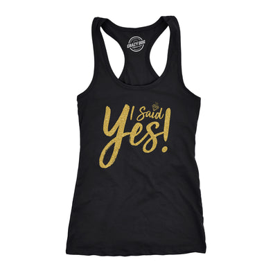 Womens I Said Yes Tank Top Cute Bride Bachelorette Party Tanktop For Ladies