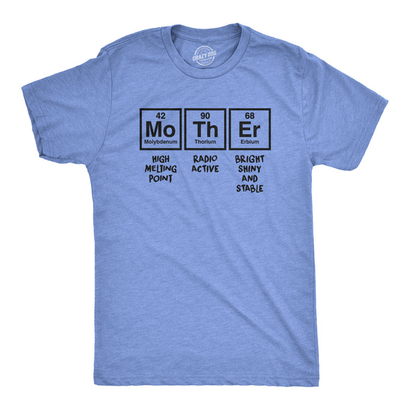 Unisex Mother Periodic Table Tshirt Funny Science Mothers Day Tee For Ladies