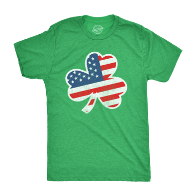 Mens American Flag Shamrock Tshirt Funny St Patricks Day USA Tee For Guys