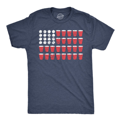 Mens American Flag Beer Pong Tshirt Funny Fourth Of July Drinking Tee For Guys