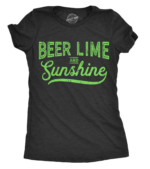 Womens Beer Lime And Sunshine Tshirt Funny Cinco De Mayo Summer BBQ Tee For Ladies