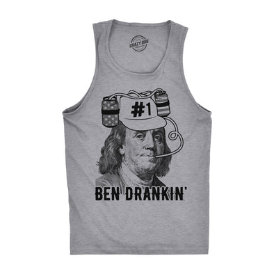 Mens Fitness Tank Ben Drankin Tanktop Funny 4th Of July Patriotic Beer Tee For Guys