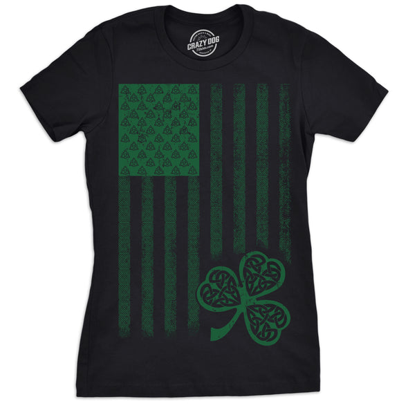 Womens Celtic USA Flag T Shirt Clover Graphic Cool Saint Patricks Day For Girls