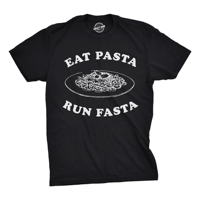 Mens Eat Pasta Run Fasta Tshirt Funny Carb Loading Cardio Tee For Guys
