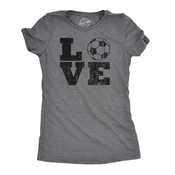 Womens Love Soccer T shirt Cute Gift for Mom Funny Vintage Graphic Cool Ladies